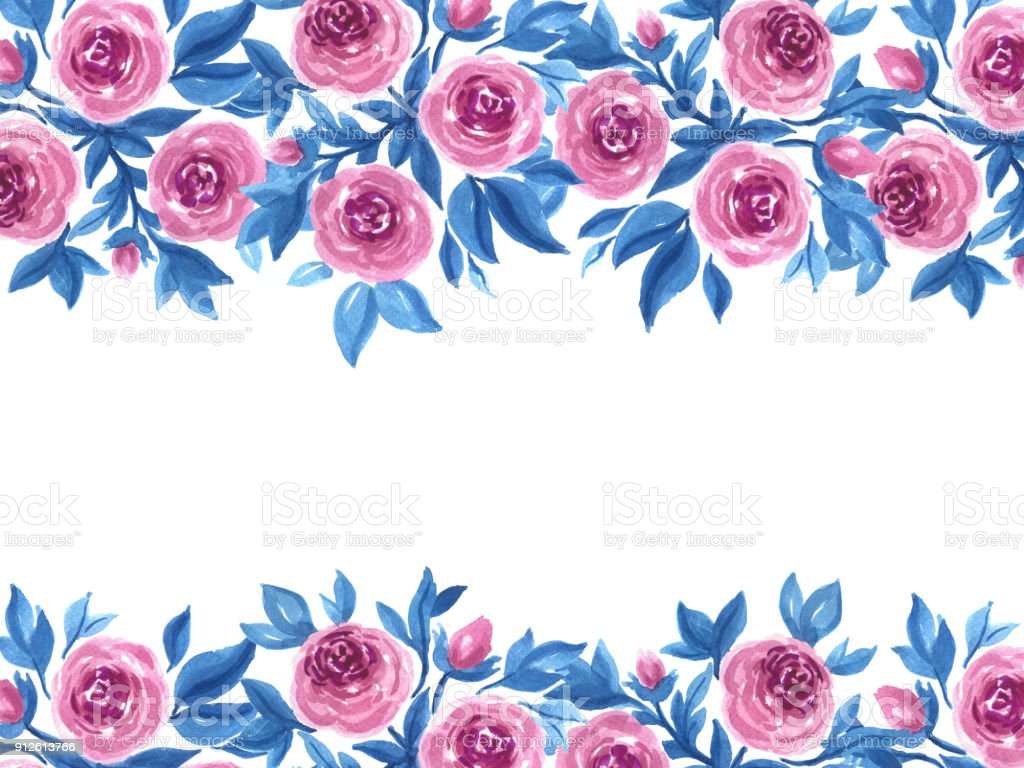 Watercolor Roses And Leaves Hand Painted Floral Template In Pink And