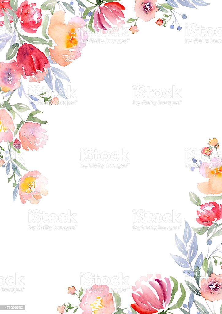 Watercolor roses card template vector art illustration