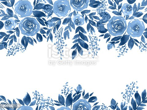 istock Watercolor roses greeting card. Hand painted floral composition in indigo blue 905982176