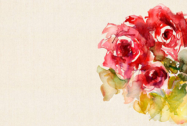 watercolor roses on canvas structure - get well soon stock illustrations, clip art, cartoons, & icons