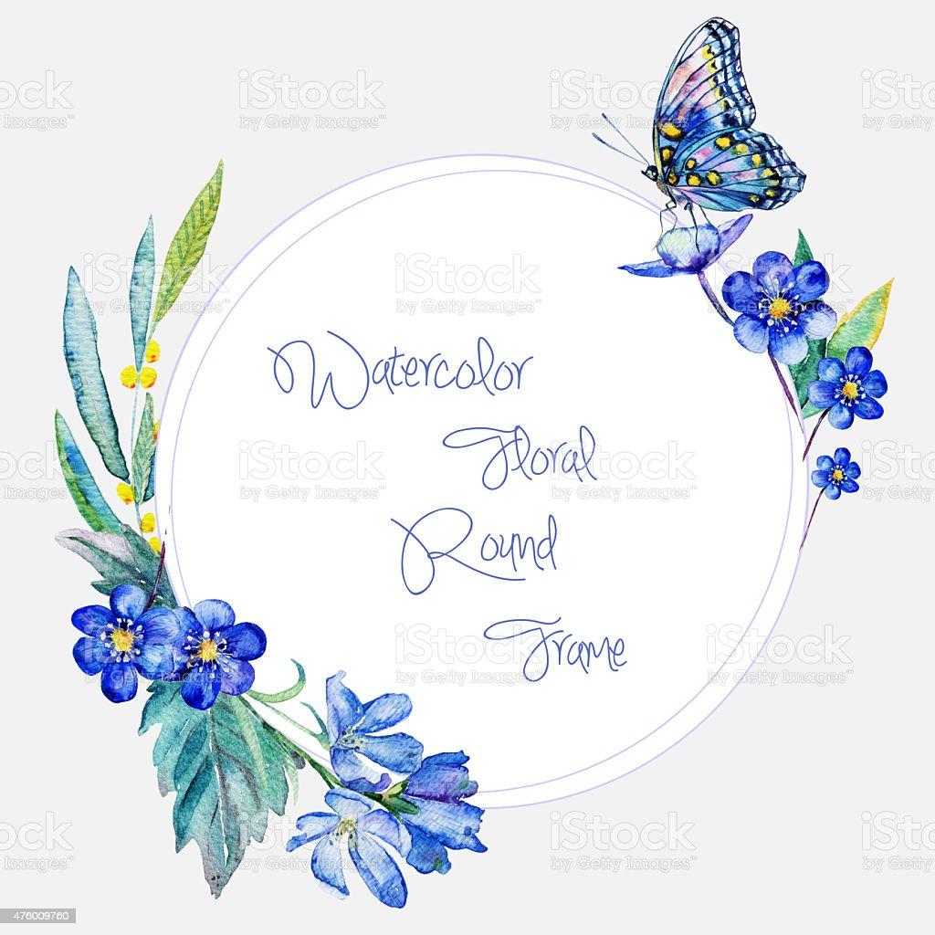 Aquarell Runde Rahmen Blau Blumen Und Schmetterling Stock Vektor Art ...
