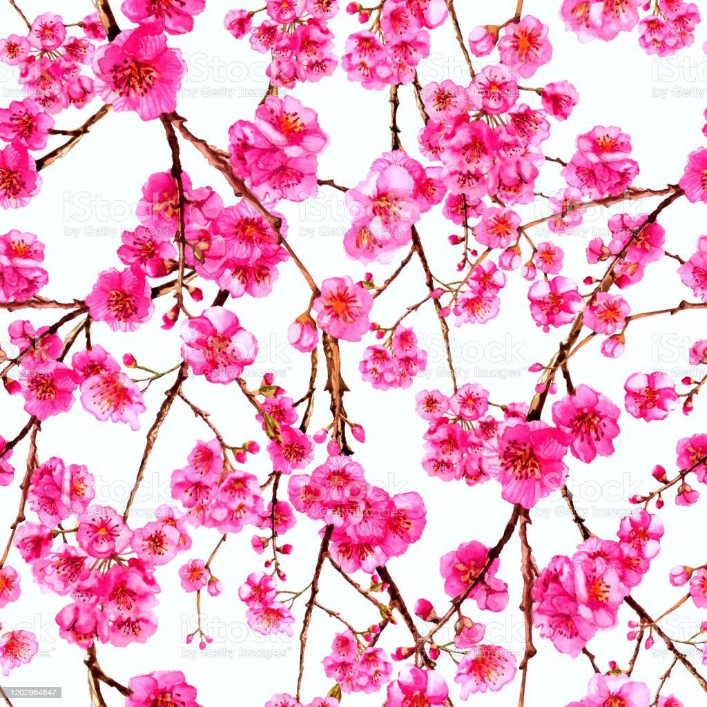 水彩桜日本桜枝咲く花春のピンクのデザインの壁紙ポスター背景カバー