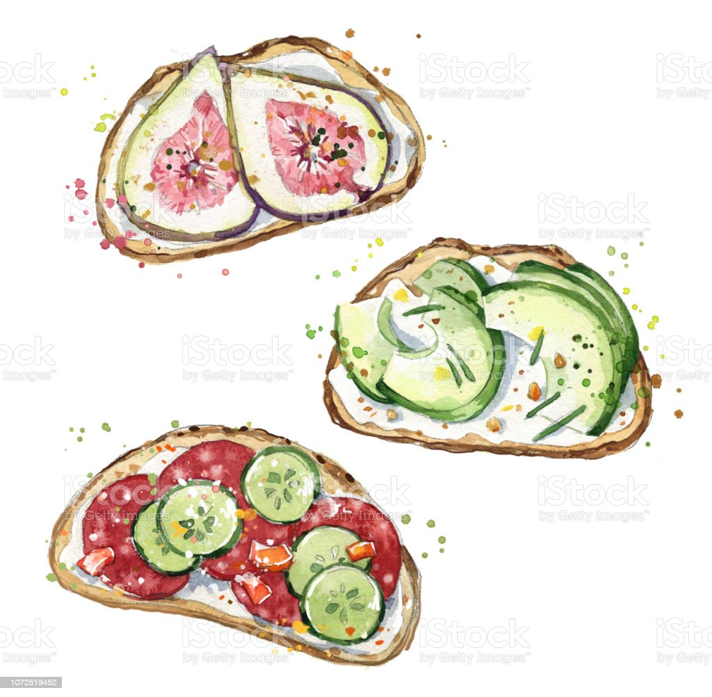 Watercolor sandwiches, hand painted snacks vector art illustration