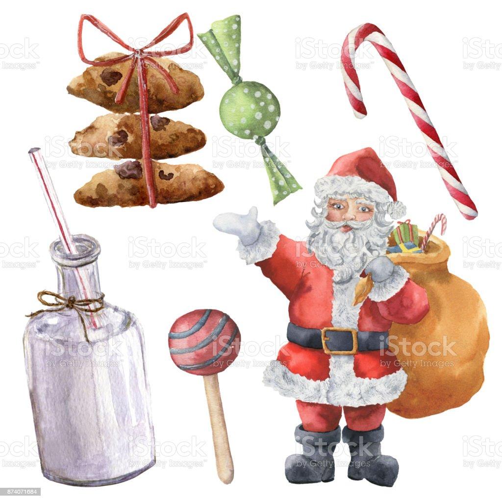 Sulu Boya Noel Baba Ve Noel Tatlılar El şişe Süt şeker çerezleri