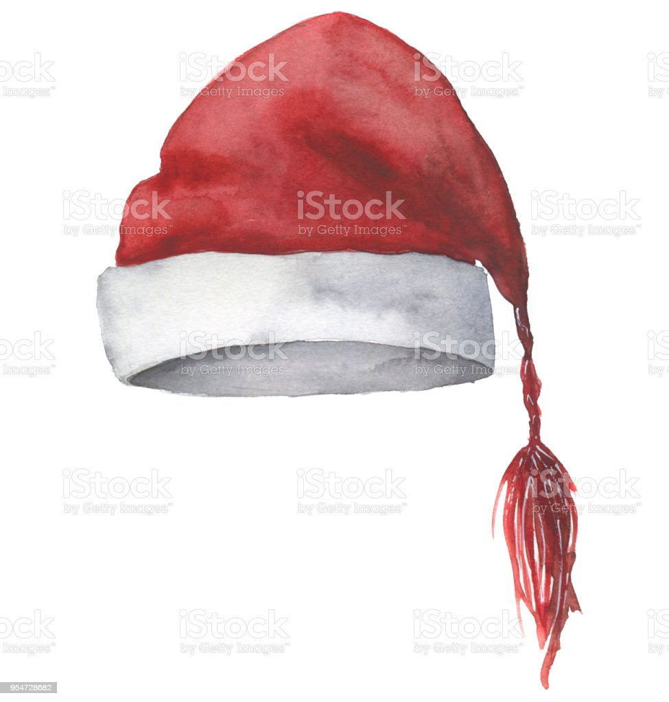 ccb96cf075cc9 Watercolor Santa hat. Hand painted Christmas red hat isolated on -  Illustration .