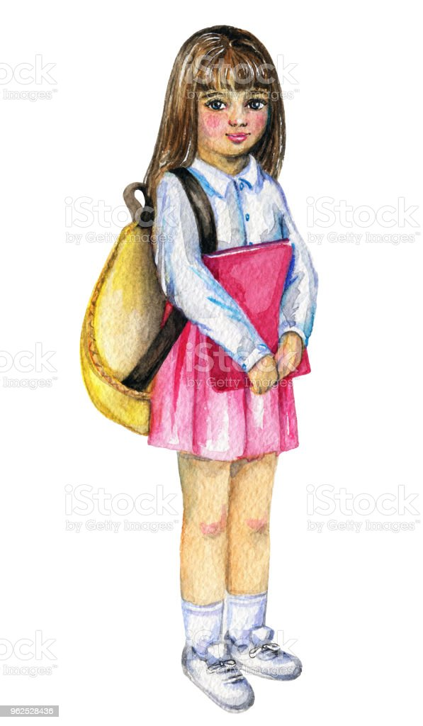 Watercolor schoolgirl with backpack and book - Royalty-free Art stock illustration