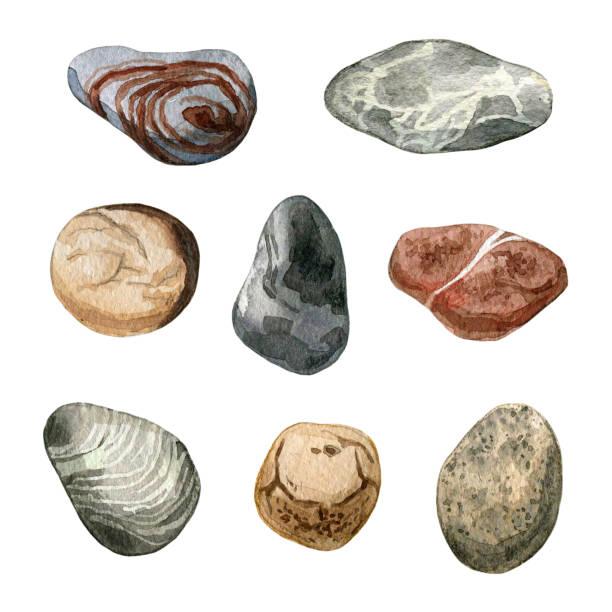 watercolor sea stones and pebbles set - pebbles stock illustrations, clip art, cartoons, & icons