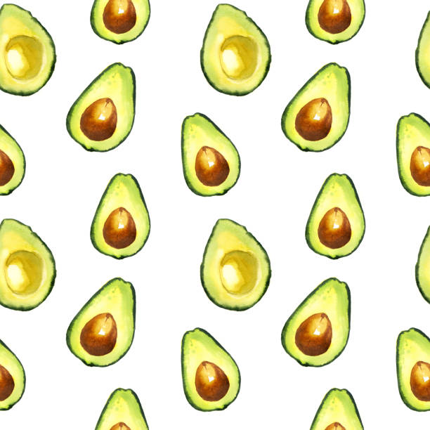 illustrazioni stock, clip art, cartoni animati e icone di tendenza di watercolor seamless avocado pattern - avocado