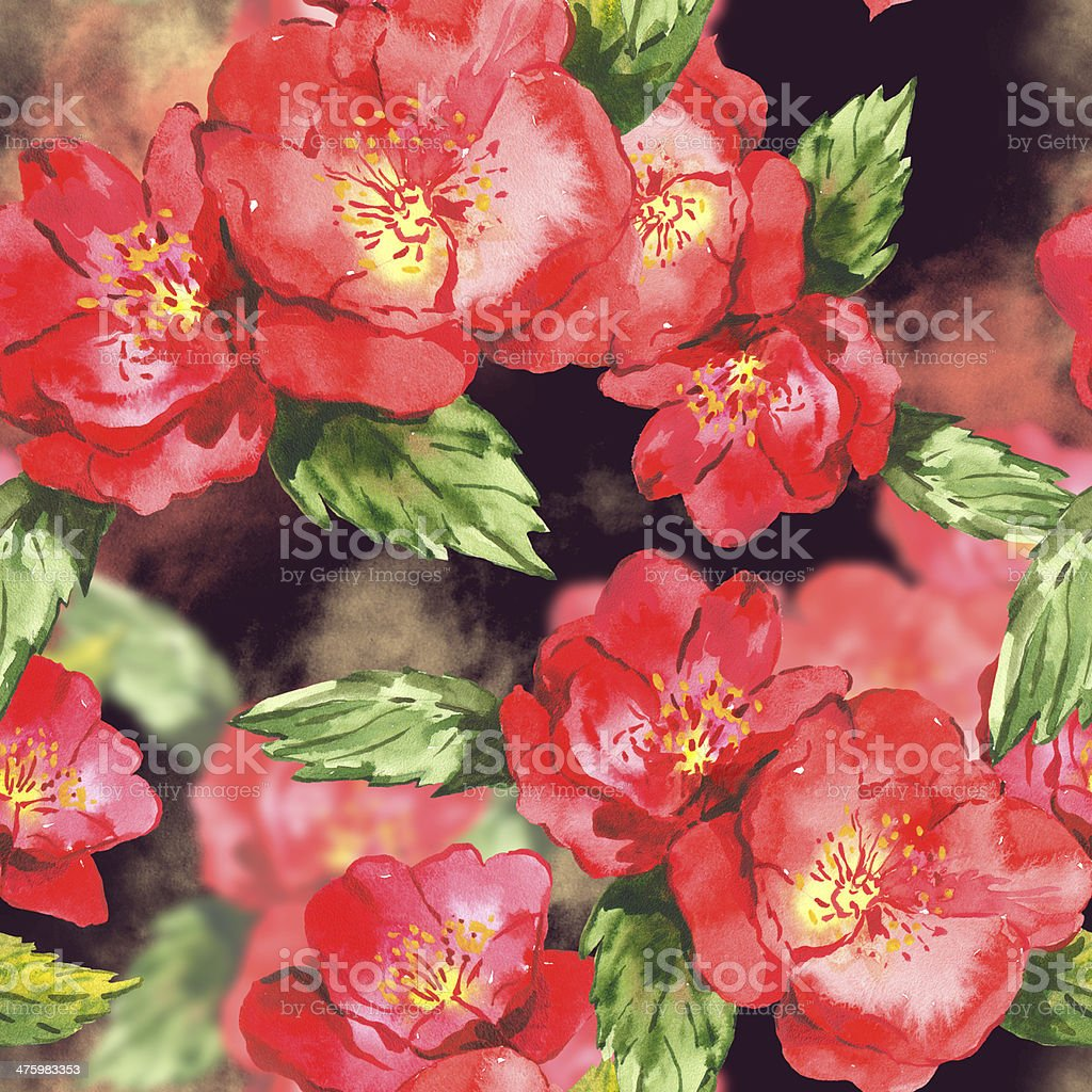 Watercolor seamless background  with rose royalty-free stock vector art