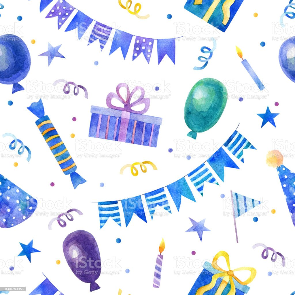 Watercolor hand drawn blue seamless pattern with balloons, gifts,...