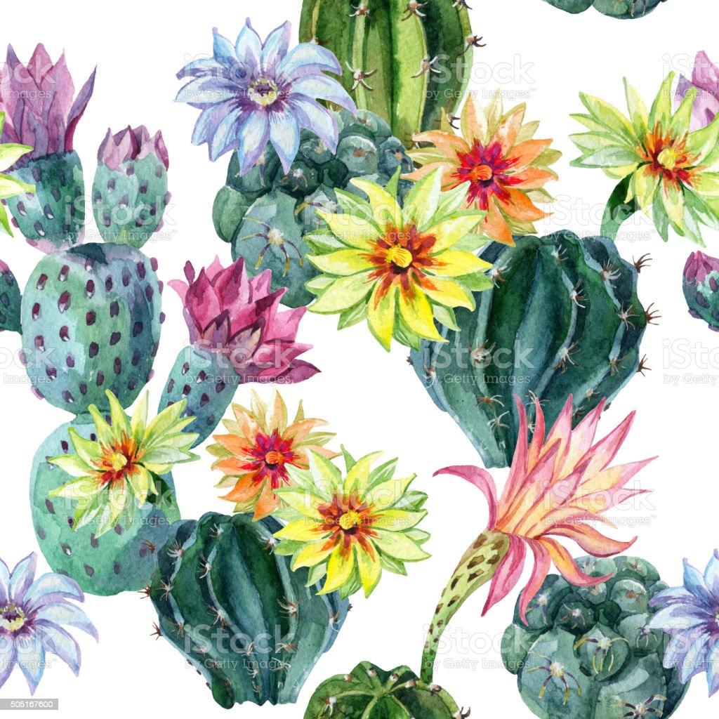 Watercolor seamless cactus pattern vector art illustration