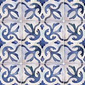 istock Watercolor seamless ceramic tiles pattern. Square vintage hand-drawn ornament. 1341412300