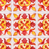 istock Watercolor seamless ceramic tiles pattern. Square vintage hand-drawn ornament. 1341412324