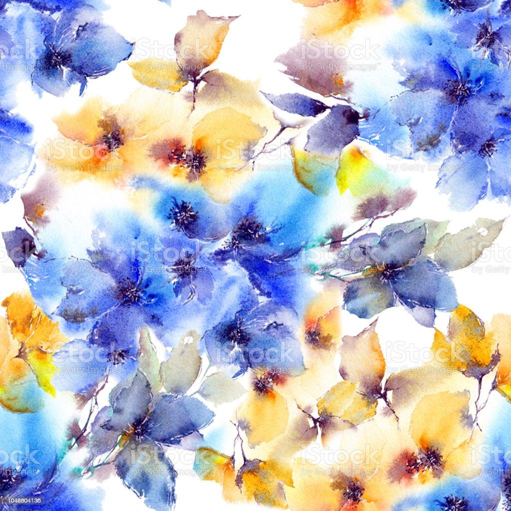 Ilustracion De Patron Floral Transparente Acuarela Flores Azules Y