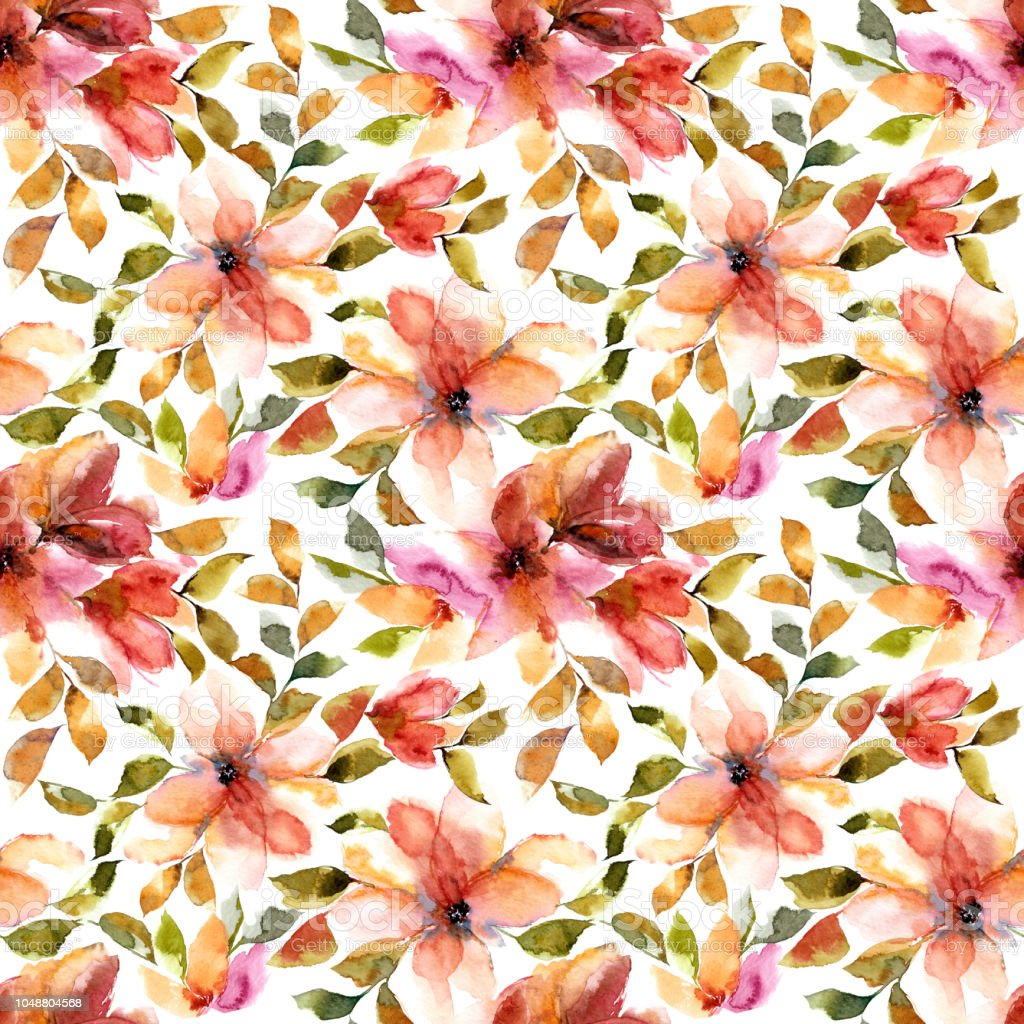 Watercolor Seamless Floral Pattern Red Flowers Floral Background