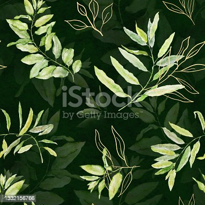 istock Watercolor seamless floral pattern with green and gold leaves on dark green background. 1332156766