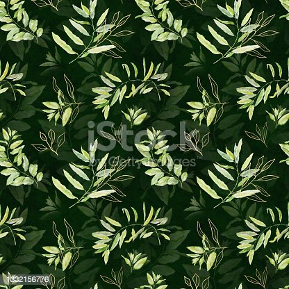 istock Watercolor seamless floral pattern with green and gold leaves on dark green background. 1332156776