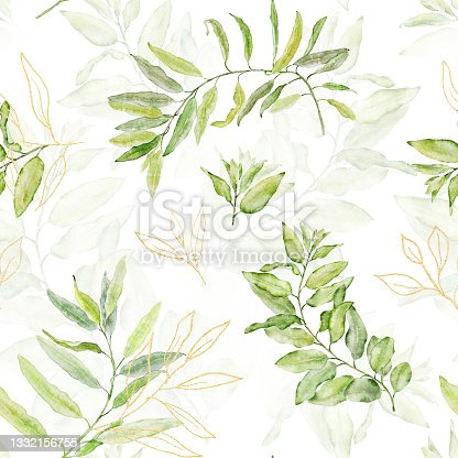 istock Watercolor seamless floral pattern with green and gold leaves on white background. 1332156755