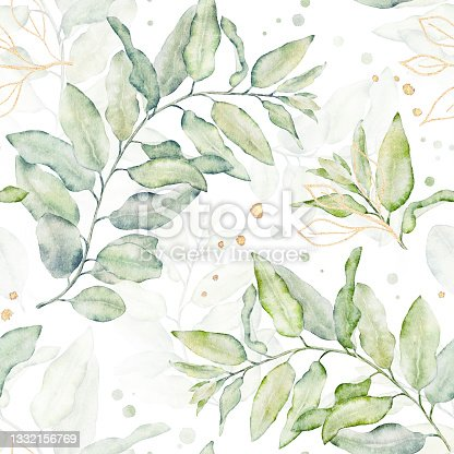 istock Watercolor seamless floral pattern with green and gold leaves on white background. 1332156769