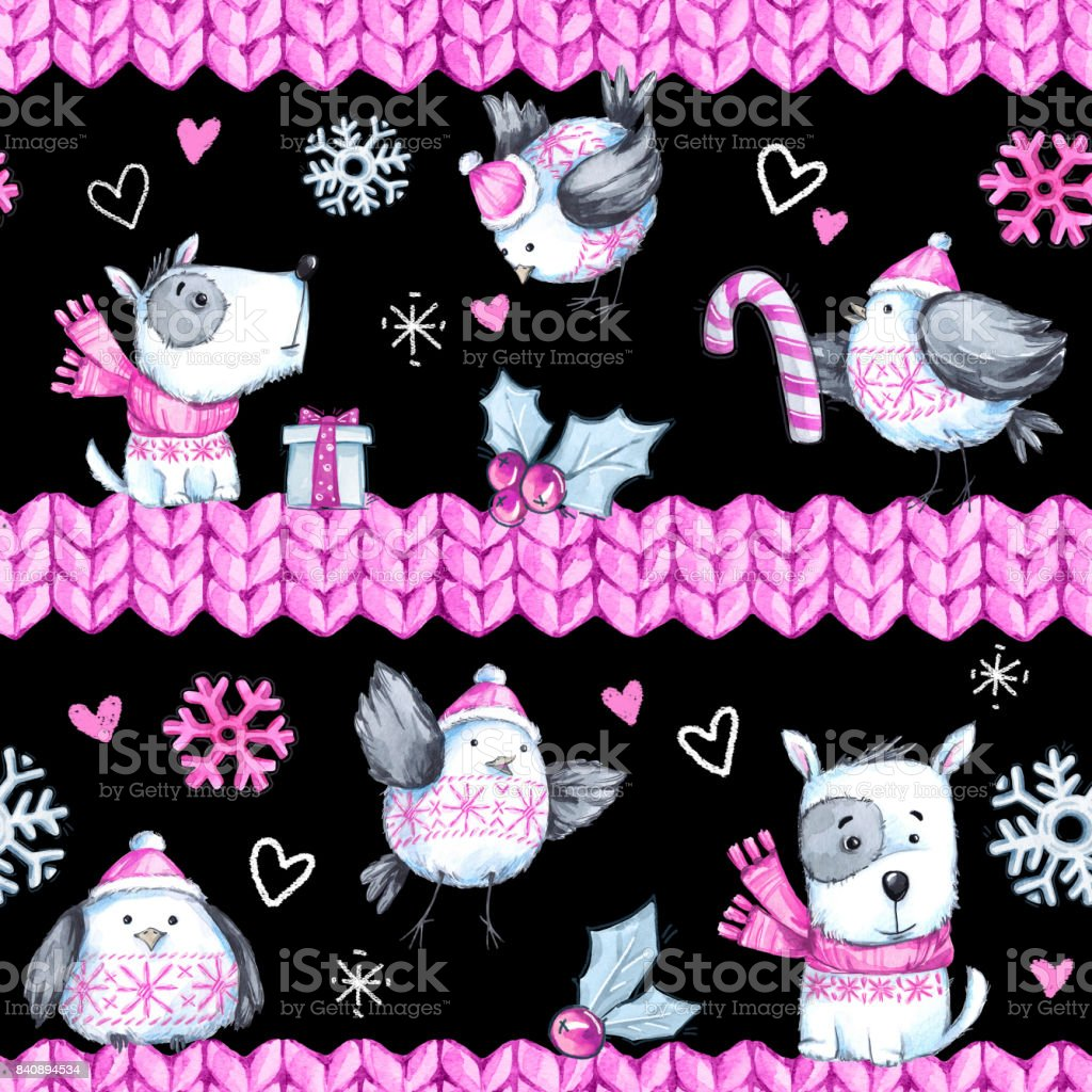 watercolor seamless greeting pattern with cute flying birds dogs and knitted borders new year