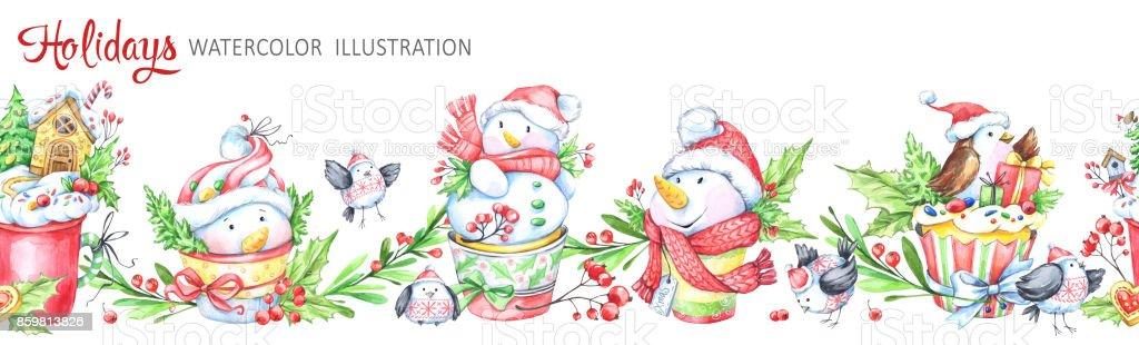 Ilustración de Acuarela Transparente Guirnalda Horizontal Snowmens ...