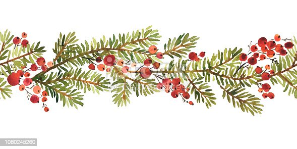 Watercolor seamless horizontal pattern arangement of spruce and holy berries for Christmas decoration