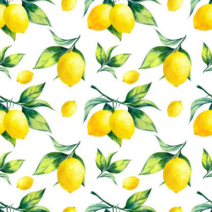 Watercolor seamless lemon pattern on white background.
