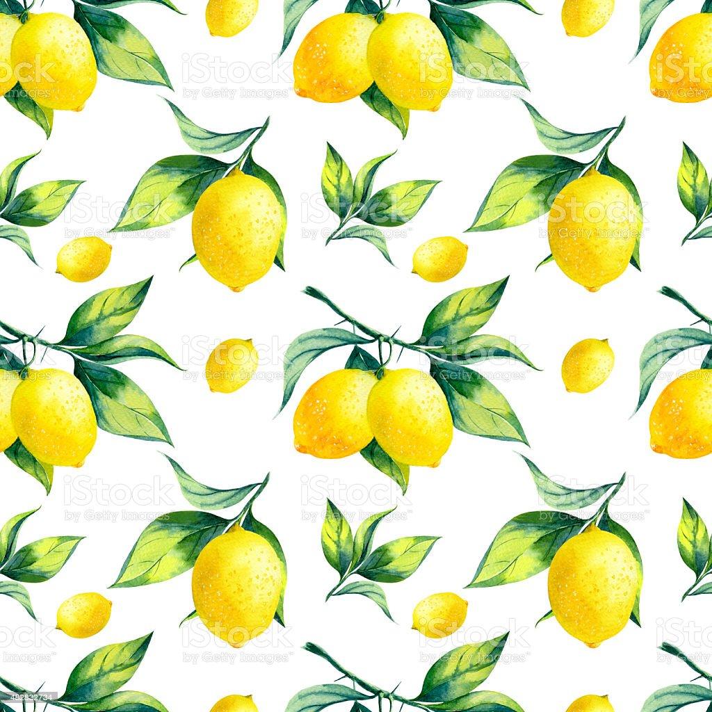 Watercolor seamless lemon pattern on white background. vector art illustration
