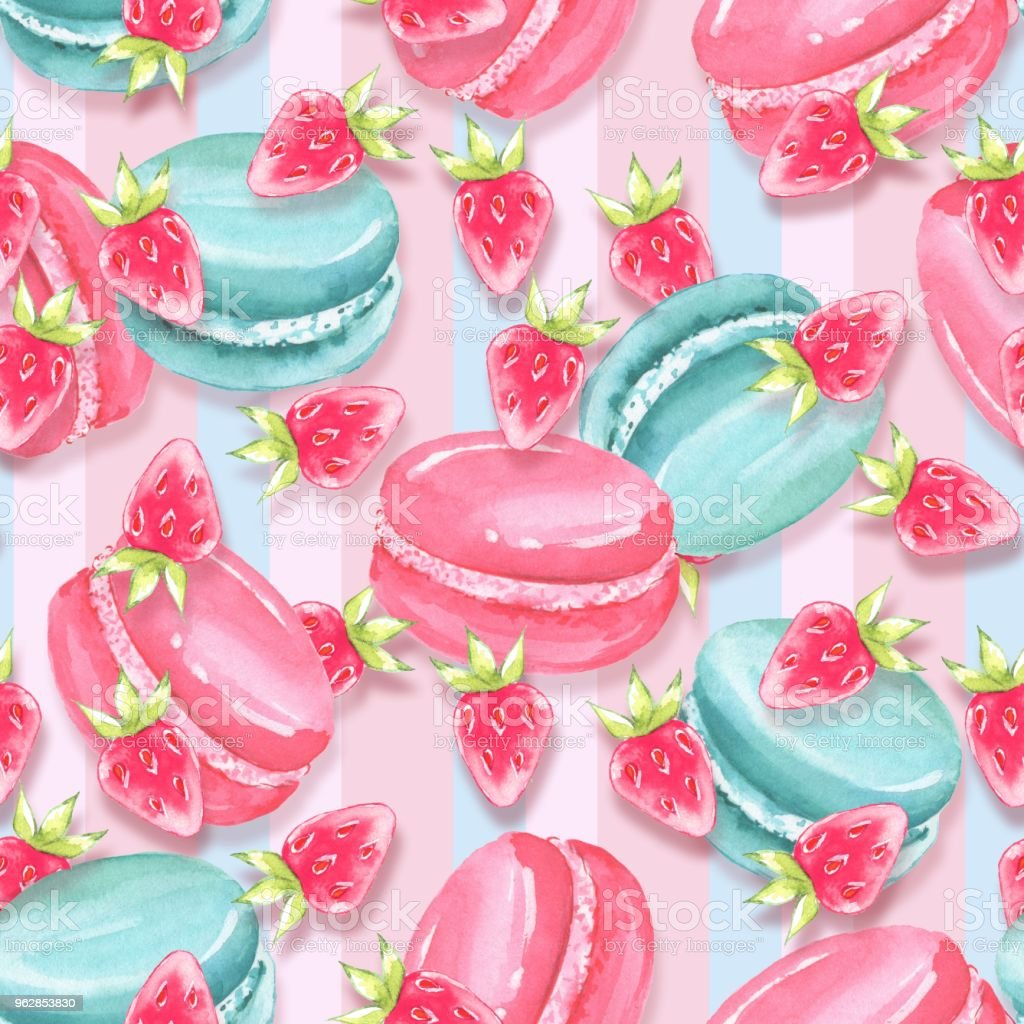 Watercolor seamless pattern 12.  Macaroons vector art illustration