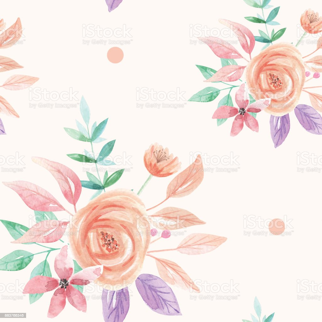 Ilustración de Acuarela De Patrones Sin Fisuras Bouquet Flor Durazno ...