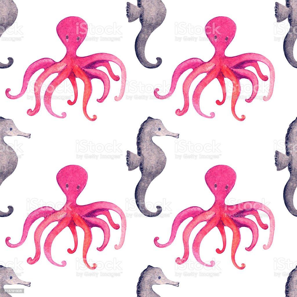 Watercolor seamless pattern, cartoon octopus, sea horse vector art illustration