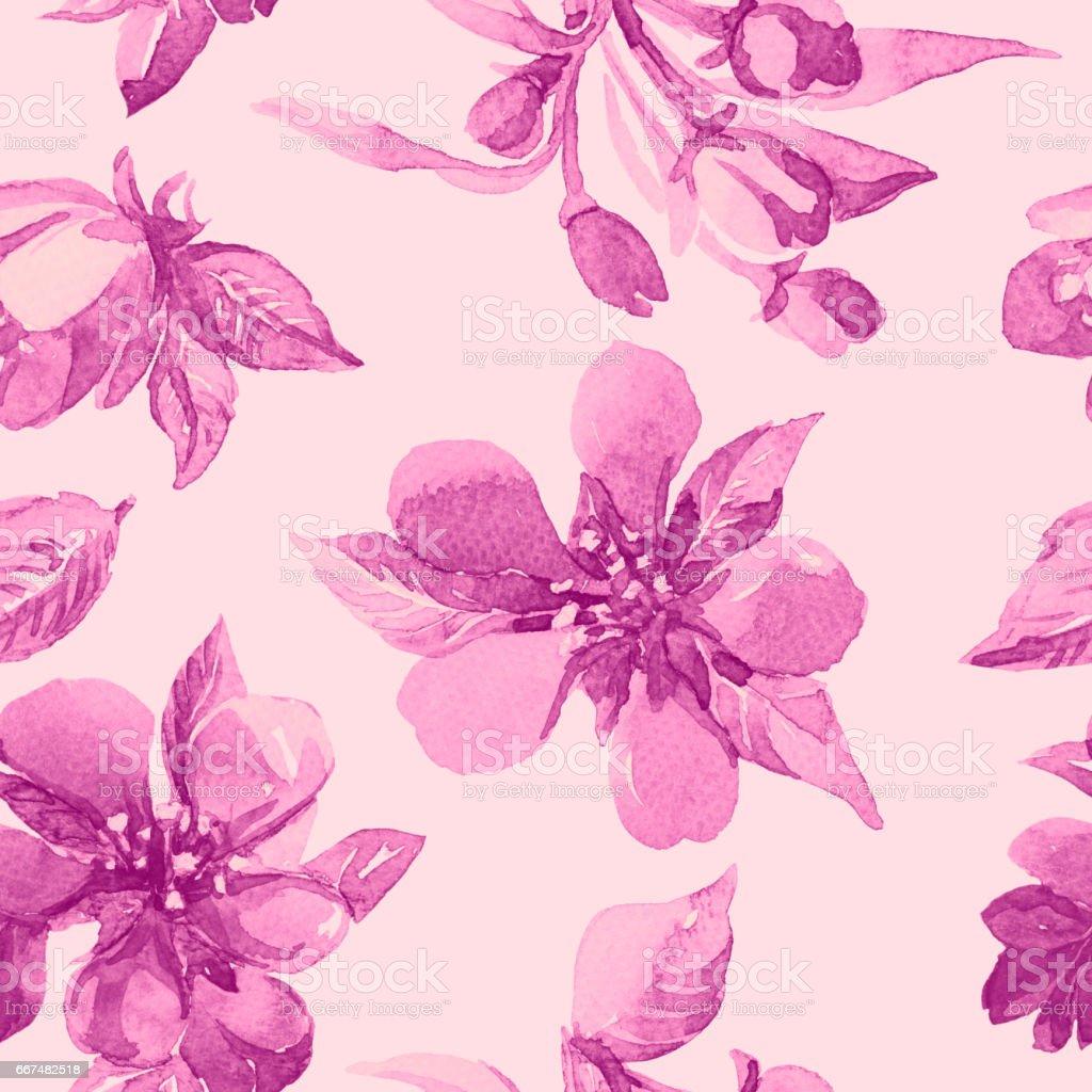 Sulu Boya Dikişsiz Desen çiçekler Ilkbaharda çiçek Açması