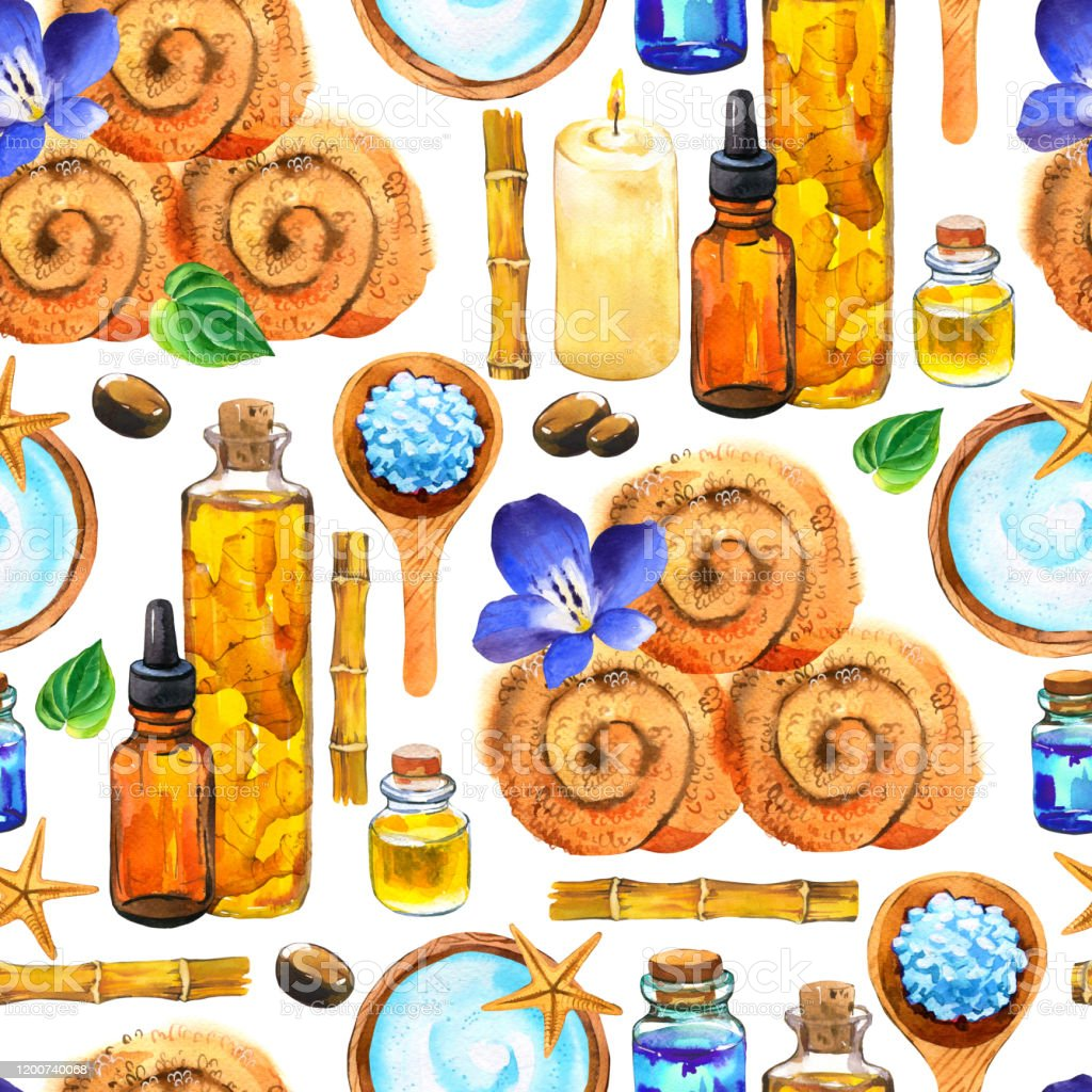 Spa Watercolor Seamless Pattern Illustrations With A Variety Of Means For Body And Face Towel Oil Cream Leaf Massage Cream Spoon With Salt Bamboo Cosmetics For Woman Relaxation In Salon Stock Illustration