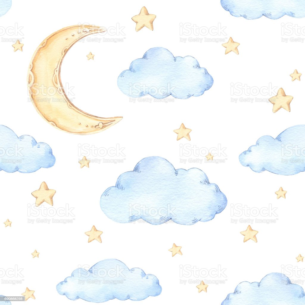 Watercolor seamless pattern moon and stars ideas for a for Childrens patterned fabric