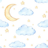 istock Watercolor seamless pattern - moon and stars. Ideas for a children's room. Good night. Baby shower party elements. Perfect for prints, postcards, prints, greeting cards, fabric etc 690868256