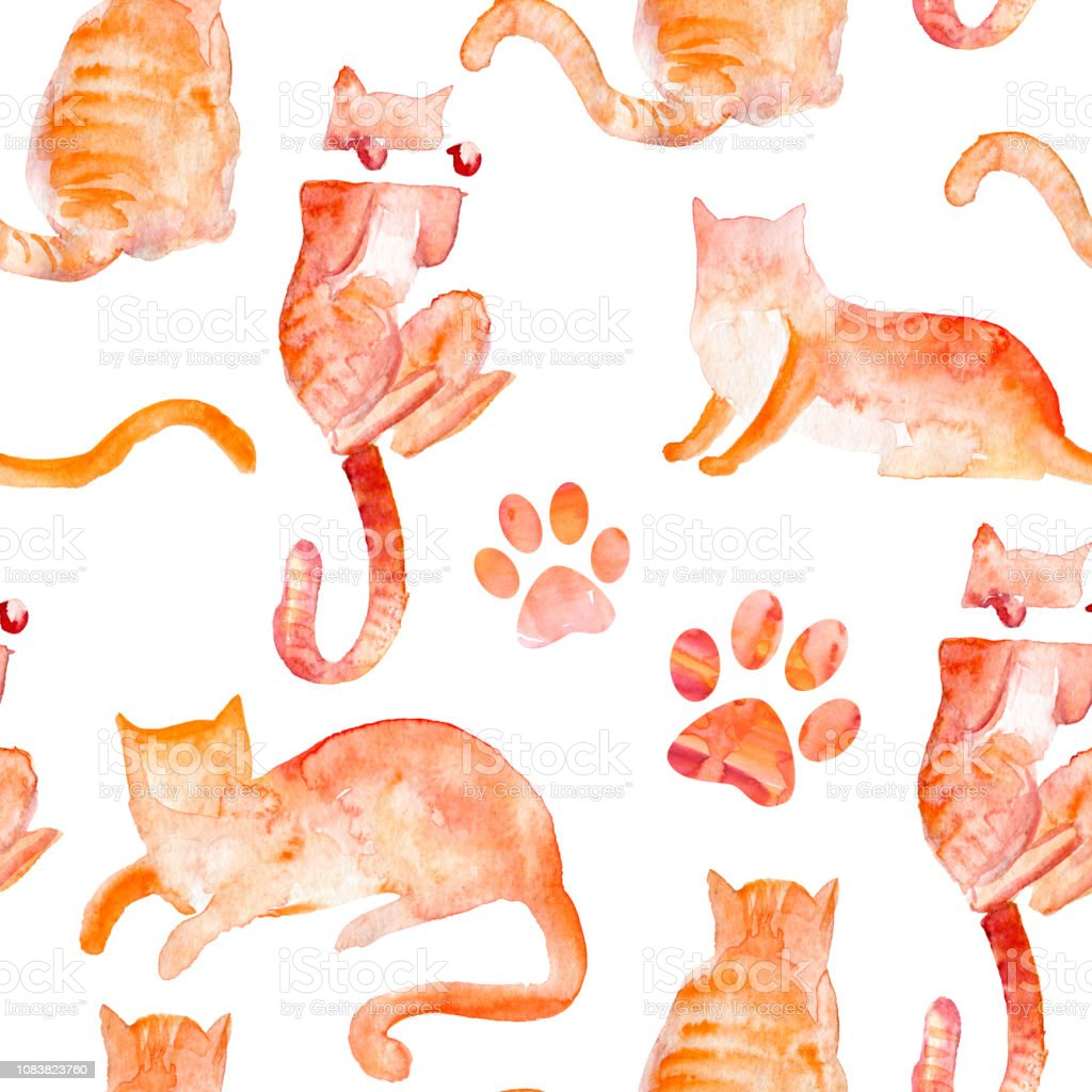 Watercolor seamless pattern of cats. Sketch of a red cats.