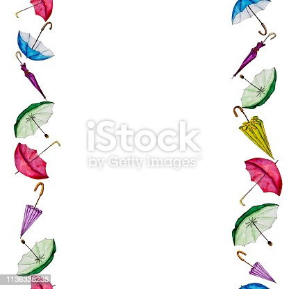 Watercolor painting by hand colorful umbrellas background with space for text.