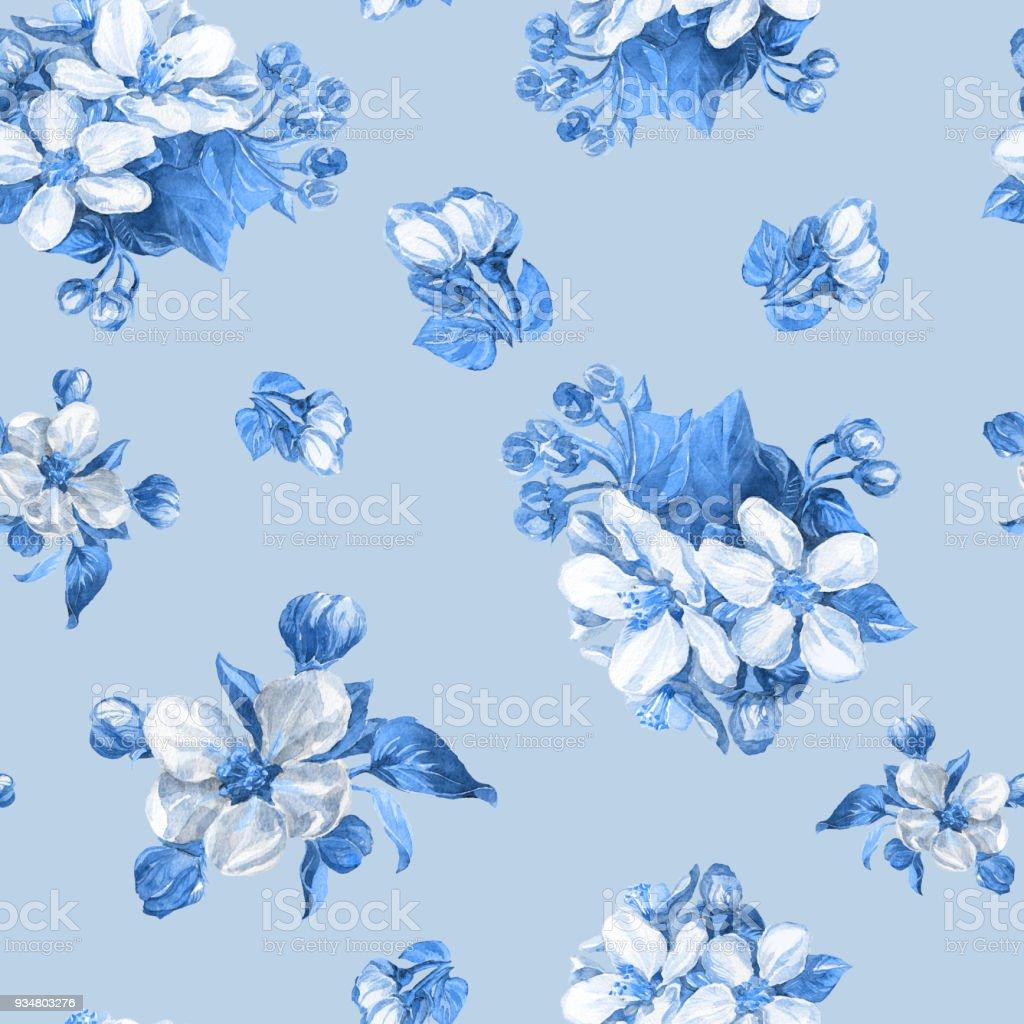 사과 나무의 꽃 가지의 수채화 완벽 한 패턴입니다. - 로열티 프리 개체 그룹 스톡 일러스트