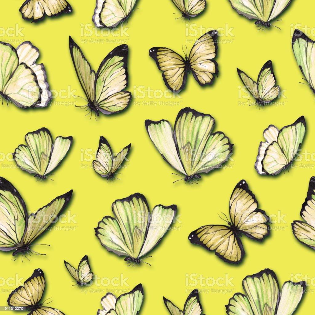 Sulu Boya Dikissiz Desen Boyali Kelebek Stok Vektor Sanati