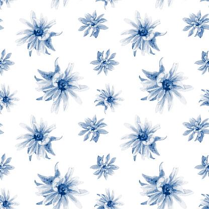 Watercolor seamless pattern of rudbeckia flowers.