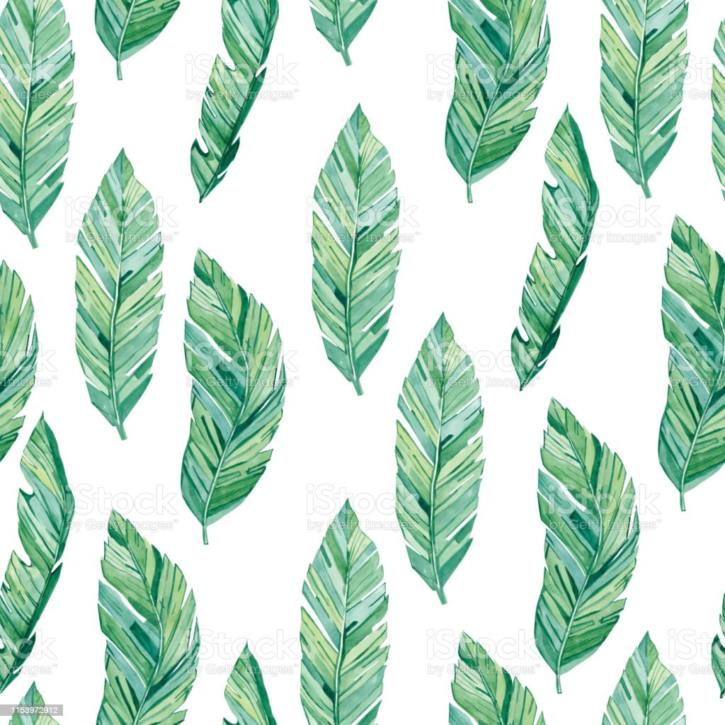 Watercolor Seamless Pattern Tropical Leaves Summer Print