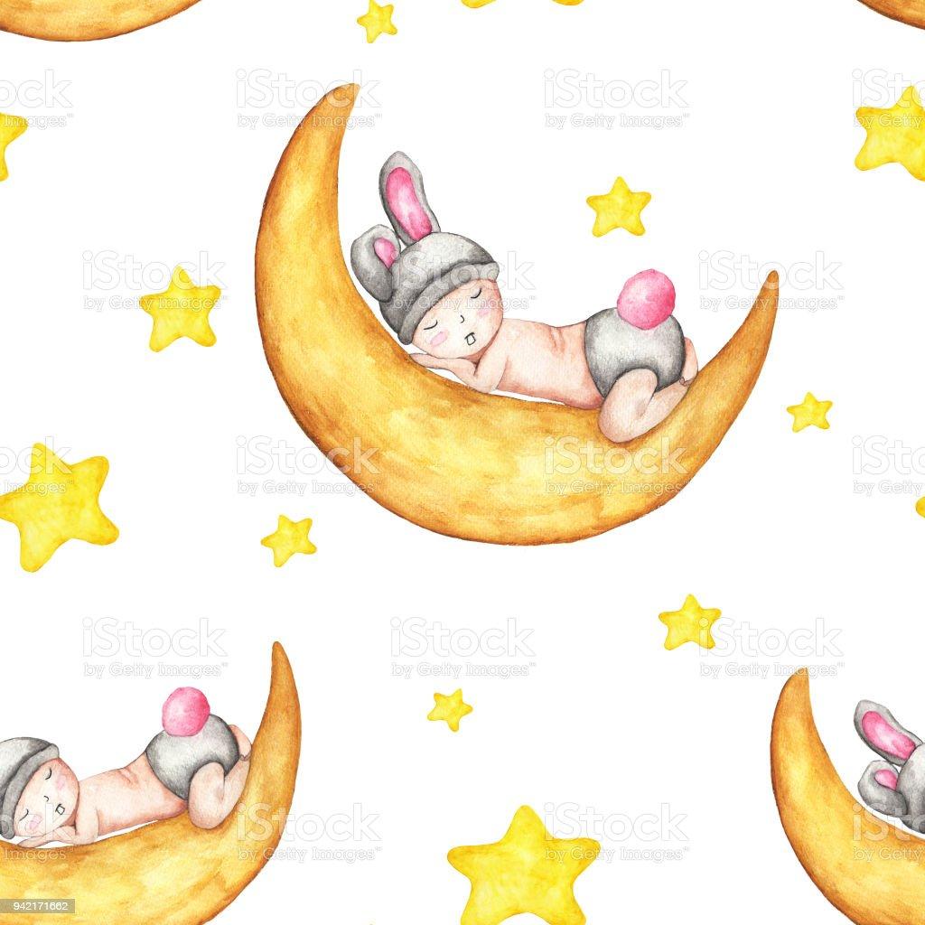 Sulu Boya Dikişsiz Desen Bebek Ayda Uyku Ile Uyuyan Sevimli Tavşan