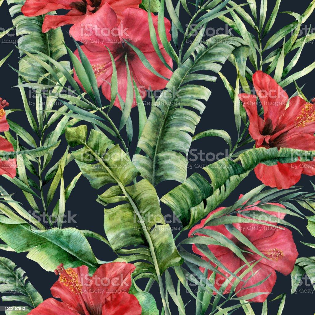 aquarelle transparente motif avec des feuilles de bananier et