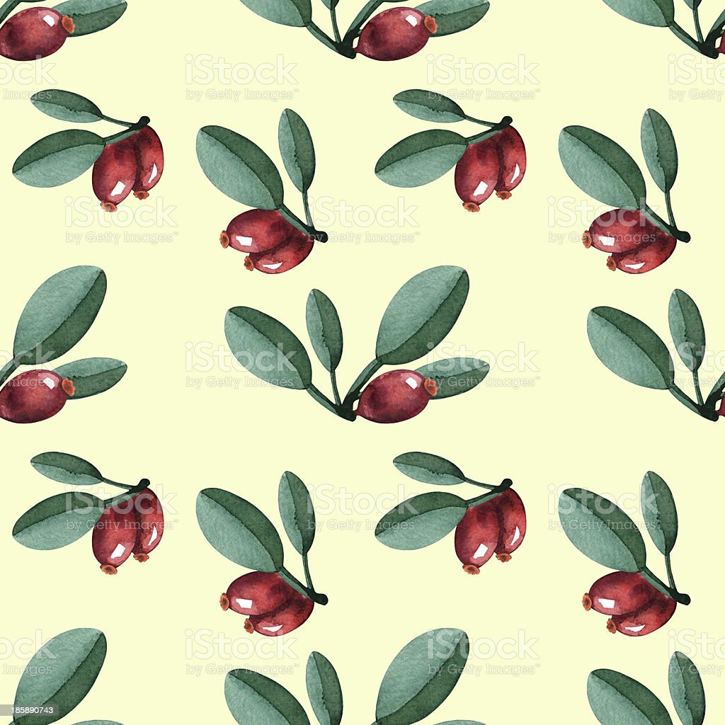 Watercolor seamless pattern with berries and leaves royalty-free stock vector art