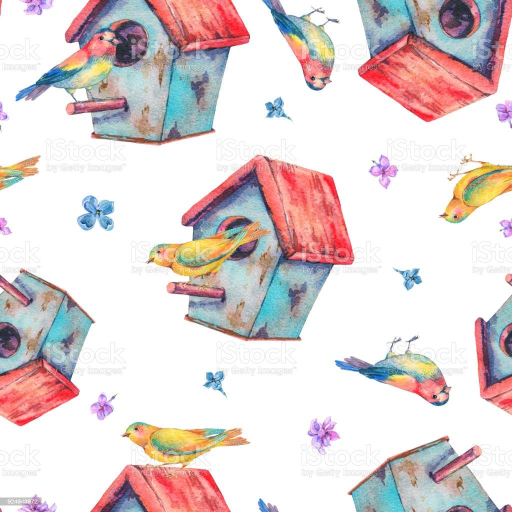 Kus Yuvasi Ile Sulu Boya Dikissiz Desen Stok Vektor Sanati