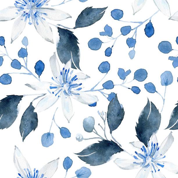 Modèle sans couture d'aquarelle avec les usines noires et bleues - Illustration vectorielle