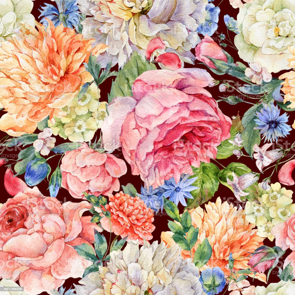 Watercolor seamless pattern with blooming peonies, roses vector art illustration
