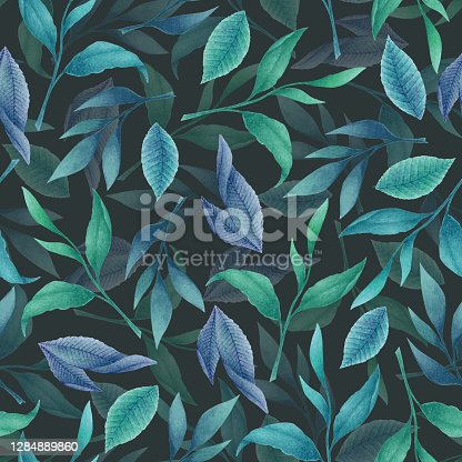 istock Watercolor seamless pattern with blue hand drawn tea leaves and branches isolated on dark background. Botanical illustration for textile design, print, fabric, wallpaper 1284889860