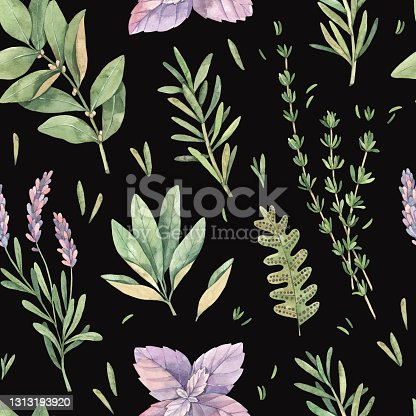 istock Watercolor seamless pattern with botanical green leaves, herbs, branches. Fabric with illustrations of basil, thyme, sage, lavender. Perfect for textile, package, wrapping paper, invitations, prints 1313193920