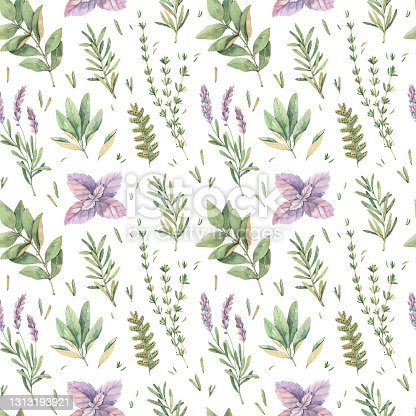istock Watercolor seamless pattern with botanical green leaves, herbs, branches. Fabric with illustrations of basil, thyme, sage, lavender. Perfect for textile, package, wrapping paper, invitations, prints 1313193921